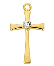 "Gold over Sterling Silver Cross with Stone on 18"" Chain"
