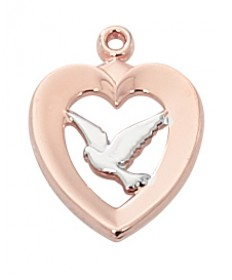 "Rose Gold over Sterling Silver Two-tone Hear Dove on 18"" Chain"