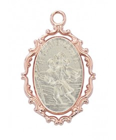 "Rose Gold over Sterling SilverTwo-tone St Christopher Medal on 18"" Chain"