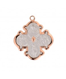 """Rose Gold over Sterling Silver Two-tone 4-Way Medal on 18"""" Chain"""