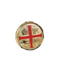 Brass Pyx with Red Enamel Cross (10 hosts)