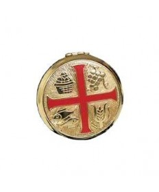 Brass Pyx with Red Enamel Cross (25 hosts)
