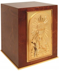 """Tabernacle in Wood with Gold Plated Door 17""""H"""