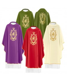 Chasuble by Haftina Atelier with Embroidered Alpha/Omega