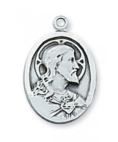 "Sterling Silver Scapular Medal on 20"" Chain"