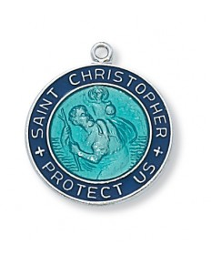 "Sterling Silver St Christopher Medal with Blue Enamel on 18"" Chain"