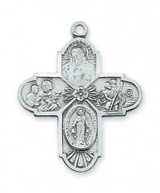 """Sterling Silver 4-Way Medal on 20"""" Chain"""