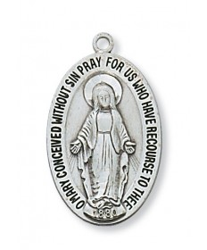 "Sterling Silver Miraculous Medal on 20"" Chain"