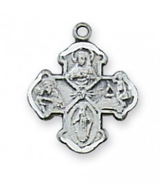 """Sterling Silver 4-Way Medal on 16"""" Chain"""