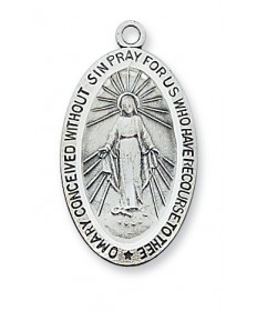 "Sterling Silver Miraculous Medal on 18"" Chain"