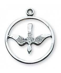 "Sterling Silver Holy Spirit Pendan on 18"" Chain"