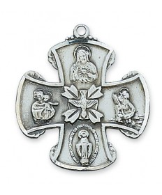 """Sterling Silver 4-Way Medal on 24"""" Chain 1"""" Tall"""