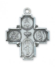 """Sterling Silver 4-Way Medal 24"""" Chain"""