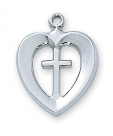 "Sterling Silver Cross Heart Pendant on 18"" Chain"