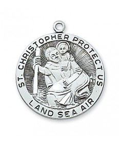 "Sterling Silver St Christopher Medal on 24"" Chain"