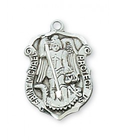 "Sterling Silver St Michael Shield Medal on 18"" Chain"