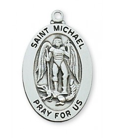 "Sterling Silver St Michael Medal on 20"" Chain"