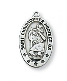 "Sterling Silver St Christopher Medal on 18"" Chain"