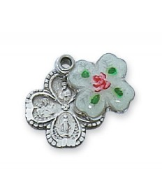 """Sterling Silver Cloisonne 4-Way Medal 18"""" Chain (1/2"""" tall)"""