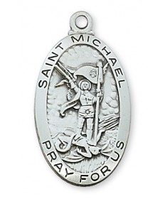 "Sterling Silver St Michael Medal on 24"" Chain"