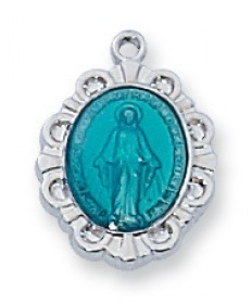 "Sterling Silver Miraculous Medal with Blue Enamel on 16"" Chain"