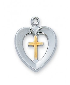 "Sterling Silver Two-tone Cross Heart Pendant on 18"" Chain"