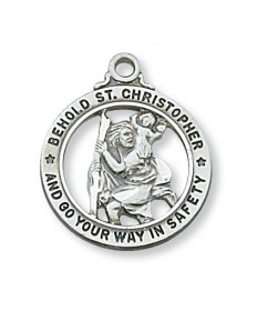 "Sterling Silver St Christopher Open Medal on 20"" Chain"