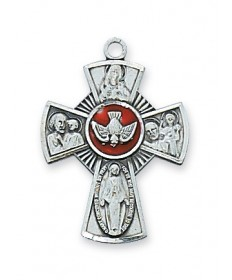 "Sterling Silver with Red Enamel 4-Way Medal on 18"" Chain (9/10"" tall)"