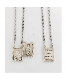 "Sterling Silver 2-piece Scapular Medal on 30"" Chain"