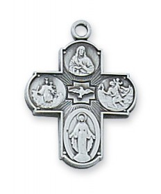 """Sterling Silver 4-Way Medal 18"""" Chain"""