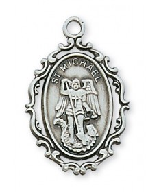 "Sterling Silver St Michael Medal on 18"" Chain"