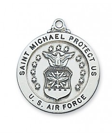 "Sterling Silver St Michael Air Force Medal on 24"" Chain"