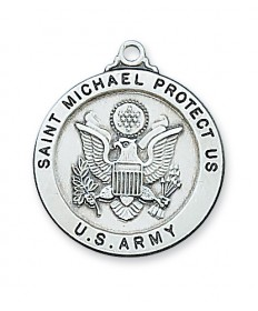 "Sterling Silver St Michael Army Medal on 24"" Chain"
