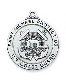 "Sterling Silver St Michael Coast Guard Medal on 24"" Chain"