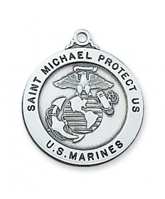 "Sterling Silver St Michael Marines Medal on 24"" Chain"
