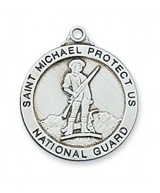 "Sterling Silver St Michael National Guard Medal on 24"" Chain"