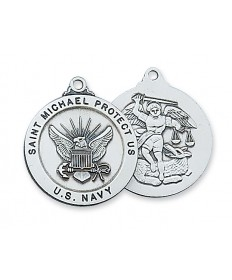 "Sterling Silver St Michael Navy Service Medal on 24"" Chain"