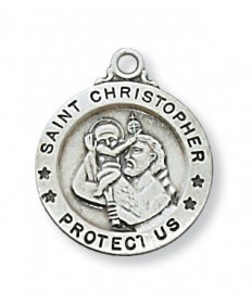 "Sterling Silver St Christopher Pendant on 18"" Chain"