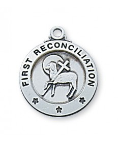 "Sterling Silver First Reconciliation Pendan on 16"" Chain"
