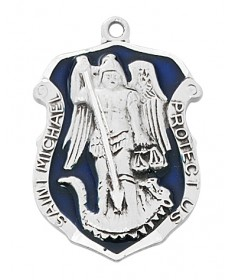 "Sterling Silver St Michael Police Badge Medal on 24"" Chain"