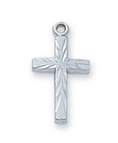 "Sterling Silver Cross Pendant on 16"" Chain"