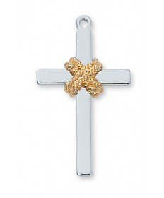 "Sterling Silver Two-tone Cross with Rope Pendant on 24"" Chain"
