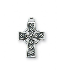 """Sterling Silver Celtic Cross on 16"""" Chain"""