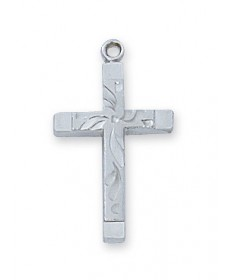 "Sterling Silver Cross Pendant on 18"" Chain"