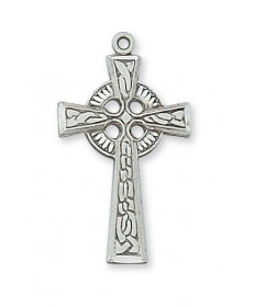 """Sterling Silver Celtic Cross on 18"""" Chain"""
