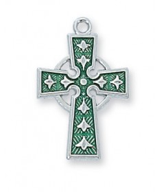 "Sterling Silver Celtic Cross Pendant on 18"" Chain"