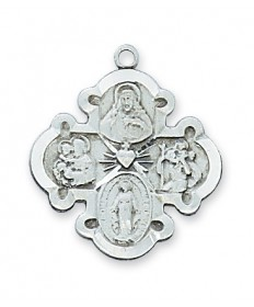 "Sterling Silver 4-Way Medal 20"" Chain"