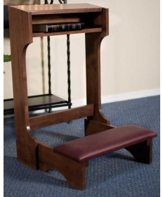 Silk-Screened Classic Padded Kneeler with Walnut Stain