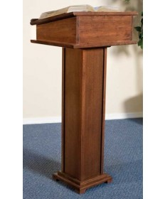 Silk-Screened Lectern with Shelf and Walnut Stain