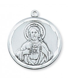 "Sterling Silver Scapular Medal on 24"" Chain"
